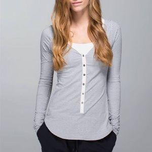 Lululemon Awesoma Henley in Hyper Stripe - Gray